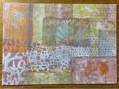 Stamping with the lovely 3x5 Gelli plate. (Sarah's Tentative Artsy Steps: TAD2015 DAY22)