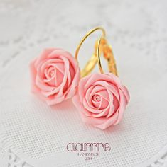 Elegant Handmade Earrings With Soft Pink Roses, Fashion Jewelry, Floral…