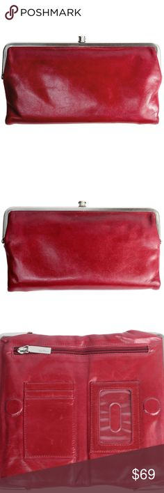 aa1be295dcaeb1 HOBO LAUREN Bifold Glazed Leather Wallet Wine Red This wallet shows minor  signs of use.