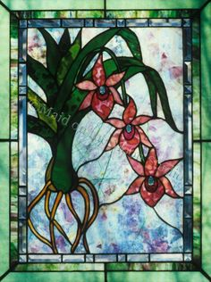 Blue Ribbon Orchid stained glass panel by Maid on the Moon Studio