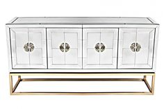rocher buffet – antique mirror The luxurious Rocher buffet is an antique mirrored 4 door buffet on an antique brass metal frame with antique brass greek key handles and a single fixed shelf. Interior Design Tips, Interior Styling, Little Dream Home, Mirrored Bedroom Furniture, D 40, Drinks Cabinet, Interiors Online, Greek Key, Brass Metal