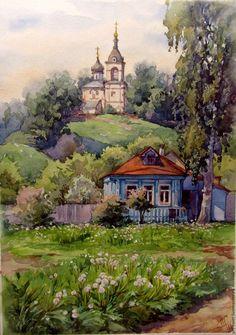 Купить В начале лета - салатовый, лето 2016, акварельная живопись, авторская работа, деревня