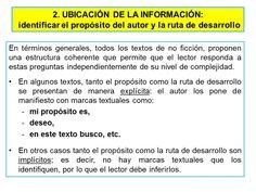 2. Ubicación de la información Texts, Authors Purpose, Literature