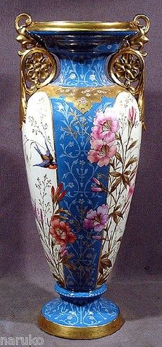 "25"" The Nicest Victorian Royal Bonn Porcelain Vase on E Bay Flowers Birds Gilt 