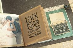 wedding scrapbook- love the simple brown paper and filtered photo.