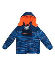 Blue Square Puffer Jacket & Beanie - Toddler & Boys