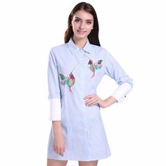 GCAROL Women Oversized Sequined Embroidered Birds Blouse Cotton Blends 3/4 Sleeve High-end Striped Long Shirt For 4 Season – butee.net