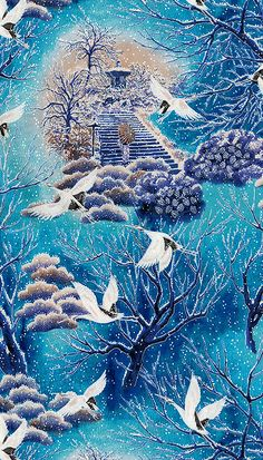 Snow Festival - Tranquil Gardens - Azure/Silver - at eQuilter.com