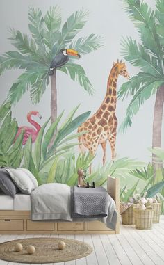 Introduce an engaging art piece into your child's nursery with our Watercolour Jungle Nursery Wall Mural. This wallpaper features a jungle theme that is suitable décor for either gender. Jungle Bedroom, Baby Bedroom, Nursery Room, Boy Room, Child's Room, Bedroom Kids, Bedroom Green, Bedroom Colors, Nursery Themes