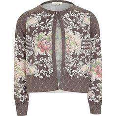 Girls grey floral print cardigan