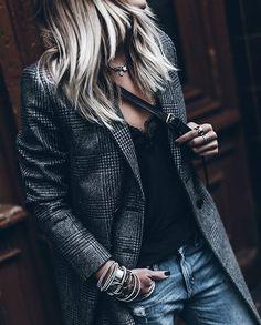 Tweed jacket, jeans, black camisole; everyday casual <Via @mikutas On Instagram>