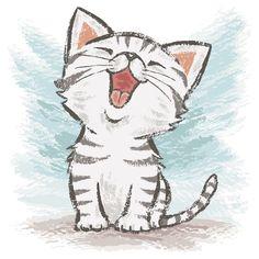 """American Shorthair Happy"" T-Shirt von Toru Sanogawa - . - ""American Shorthair Happy"" T-Shirt von Toru Sanogawa – - Cartoon Drawings, Drawing Sketches, Drawing Ideas, Cat Sketch, Drawing Art, Drawing Tips, Pencil Drawings, Shirt Drawing, Baby Cats"