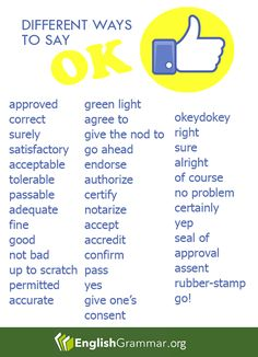 "English Grammar - Did we miss other synonyms for ""OK""?  Let us know on the comment section"