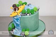 We loved baking this fun, kayak themed birthday cake. Celebrated here in Gainesville, Florida, our cake bakery was chosen to create this custom decorated cake. 50th Birthday Party, Birthday Cake, Happy Birthday, Beautiful Cakes, Amazing Cakes, Kayak Cake, Waterfall Cake, Sport Cakes, Cake Shapes