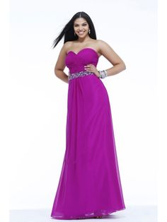 A-line Sweetheart Beaded Floor Length / Long Plus Size Chiffon Prom / Evening / Formal / Party Dresses 2401070