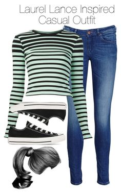 Arrow - Laurel Lance Inspired Casual Outfit by staystronng on Polyvore featuring polyvore fashion style T By Alexander Wang Maison Scotch Converse casual Arrow LaurelLance