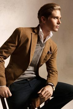 Awesome brown jacket, gray sweater.  #fashion #men