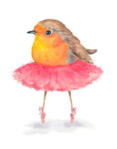 Title; Ballet Birdie No.46 This is an ORIGINAL watercolor painting of a ballerina robin dancing on her tip toes. This is the 46th bird in my