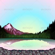 The pink mountain at sunrise, sky reflection in the lake, a forest landscape