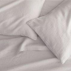 Lino Light Grey Linen Sheets and Pillowcases, Crate & Barrel