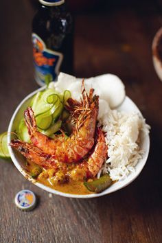 Jamie Oliver's Thai Red Shrimp Curry with Jasmine Rice, Cucumber Salad and Papaya Platter....via Project Foodie...