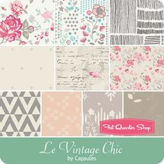 Capsules Le Vintage Chic Fat Quarter Bundle AGF Studios for Art Gallery Fabrics Quilting For Beginners, Quilting Tips, Fat Quarters, Rag Quilt, Quilts, Art Gallery Fabrics, Eye Candy, Studios, June