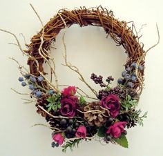 Purple roses and berries rustic natural style wreath