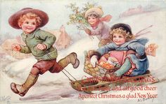 CHRISTMAS GREETINGS  boy pulls toboggan carrying girl with basket, another girl runs beside