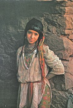 Africa: Amazigh berber girl with with facial tattoos, Morocco, 1960s