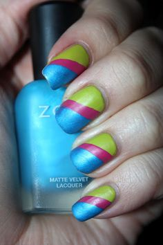 Bright multicolor matte mani