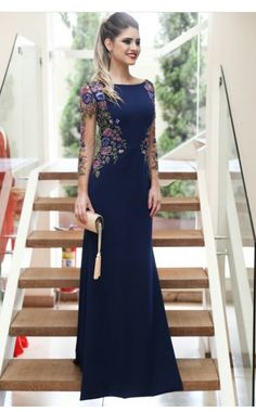 d84831be0 Marinho bordado Gown sophisticated for Female Wedding Officient