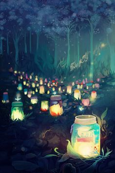 Jars full of memories to look back on every now and them Fantasy Art Landscapes, Fantasy Landscape, Art And Illustration, Anime Scenery Wallpaper, Wallpaper Backgrounds, Pretty Art, Cute Art, Arte Sketchbook, Fantasy Kunst