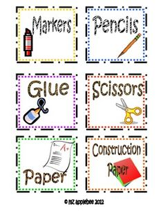 A set of twelve classroom labels, each accompanied by a pictorial representation and designed with animal print.  In addition, there is a set of ba...