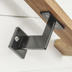 Incredible Linear Handrail Bracket Handrail Brackets Steel Plate And Satin Within Stair Railing Hardware Brackets Metal Handrails, Wood Handrail, Staircase Handrail, Stair Railing Design, Banisters, Stair Handrail Brackets, Handrail Ideas, Hand Railing, Staircases