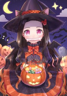 halloween, Nezuko Kamado, Demon Slayer: Kimetsu no Yaiba / ハロウィン豆子 - pixiv Anime Chibi, Anime Girl Neko, Chica Anime Manga, Otaku Anime, Anime Art Girl, Anime Girls, Manga Girl, Anime Angel, Anime Demon