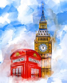 London Dreaming by Mark E Tisdale - Classic Big Ben & Telephone Box Art available on art prints, throw pillows and more