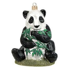 Pinnacle Peak Glass Panda Bear Polish Christmas Ornament