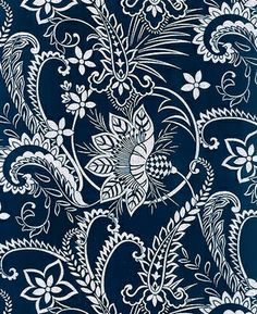 This dramatic indigo print showcases a paisley design with curling leaves and blossoms. This lovely design makes a striking statement in a rich indigo color palette. Available at Debsews2.com.