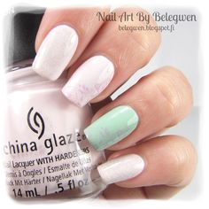 Nail Art by Belegwen: China Glaze Friends Forever, Right?, Essence Blow My Mint and China Glaze Fairy Dust.
