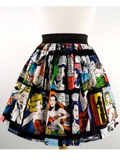 Amazing Retro Inspired Comic Strip Skirt ! #InkedSHop #comicstrip #retro #circleskirt #skirt #comic #cute #fashion #style