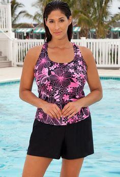 #xmas #Christmas #SwimsuitsForAll - #Aquabelle Chlorine Resistant! Aquabelle Pink Floral Plus Size DD Cup Racerback Shortini - AdoreWe.com