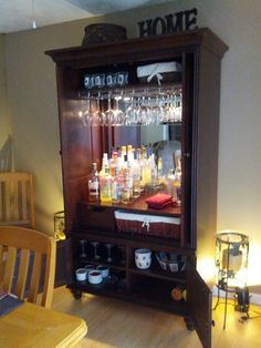 Ideas diy bar, repurposed furniture, refurbished furniture, armoire redo, a Bar Furniture, Refurbished Furniture, Repurposed Furniture, Furniture Makeover, Armoire Bar, Armoire Makeover, Armoire Redo, Bar Cart Decor, Wine Cabinets