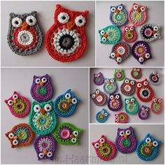 Inspiration: Applique Owls. Patterns by ATERG.crochet. Big: http://www.etsy.com/listing/87023518/crochet-pattern-owl-big-brother-by Small: http://www.etsy.com/listing/88947162/crochet-pattern-owl-by-atergcrochet