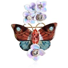 Dolce & Gabbana Women Butterfly And Hydrangea Pin (8 500 UAH) ❤ liked on Polyvore featuring jewelry, brooches, multicolor, tri color jewelry, multi colored jewelry, butterfly jewelry, glass jewelry and pin brooch