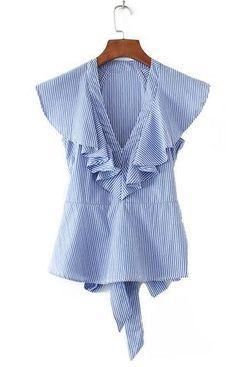 Trendy-Road-Style-Shop-Online-Woman-Fashion-Street-top-blouse-vneck-sleeveless-ruffles-striped-blue