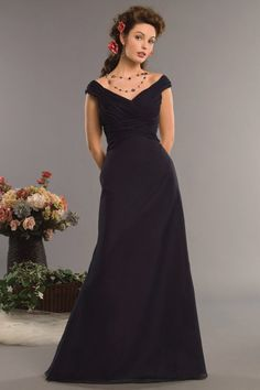 A-line Off-The-Shoulder Ruched Bodice Chiffon Bridesmaid Dress-wbm0148, $182.95