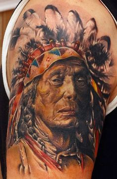 Realistic Indians Tattoo by Sergey Gas   Tattoo No. 7998