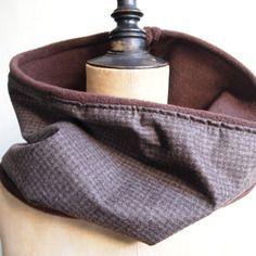 Snood homme col polaire marron et laine petits carreaux, écharpe casual chic homme moderne - idéal cadeau