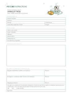 Pet-care instructions - Templates - Office.com Report Card Template, Card Templates Printable, Printables, Pet Sitting Business, Cat Sitting, House Sitting, Dog Grooming Business, Grooming Salon, Dog Training Tips