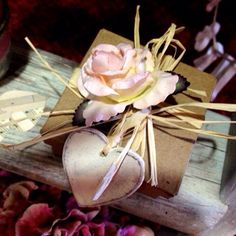 Hand made rustic gift box with wooden shabby chic heart and silk rose, perfect for your bridesmaids